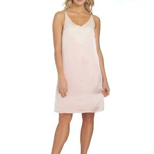 1.State Pink Satin Lace Detail Shift Dress